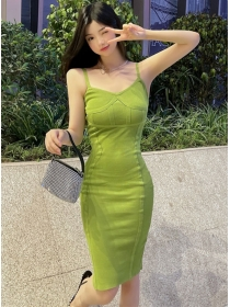 Wholesale Summer 4 Colors Straps Knitting Dress