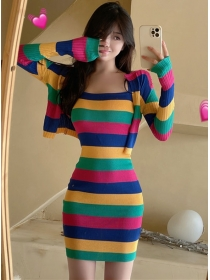 Hot Sell 3 Colors Stripes Knitting Two Pieces Dress