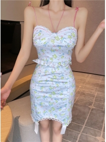 Lovely Sexy Short Camisole with Flowers Skinny Skirt