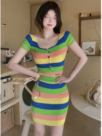 Hot Sexy 2 Colors Buttons Round Neck Stripes Knitting Dress Set