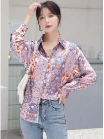 Pretty Fashion Shirt Collar Flowers Loosen Long Sleeve Blouse