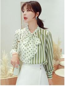Preppy Women Fashion Tie Collar Stripes Dots Blouse