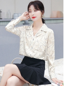 Wholesale Autumn Tailored V-neck Long Sleeve Blouse