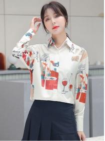 Retro Korea Fashion Printings Long Sleeve Chiffon Blouse