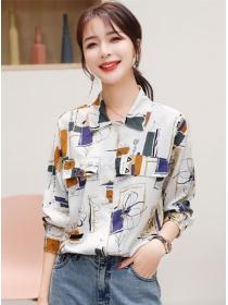 Wholesale Fashion Color Block Loosen Long Sleeve Blouse