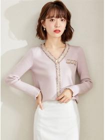 Pretty Autumn Fashion V-neck Slim Knitting T-shirt