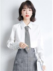 Preppy OL Fashion Plaids Tie Long Sleeve Blouse