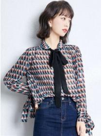Fashion Autumn Tie Collar Plaids Loosen Chiffon Blouse