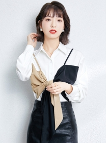 Hot Selling Color Block Tie Bowknot Splicing Blouse