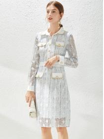 Grace Women Single-breasted Shirt Collar Lace Slim Dress