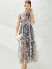 Retro Fashion Lace Flowers Off Shoulder Gauze Fluffy Maxi Dress