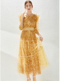 Grace Charming Elastic Waist Gauze Flowers Maxi Dress