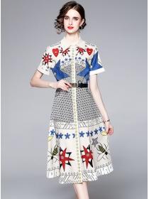 Europe Summer Shirt Collar Cartoon Printings A-line Dress