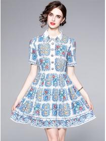 Pretty Europe Fashion Rhinestones Buttons Flowers Dress