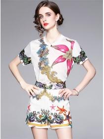 Summer Wholesale Round Neck Flowers Short Suits