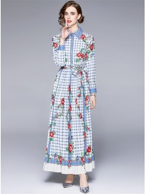 Europe Charming High Waist Plaids Flowers Maxi Dress