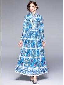 Retro Autumn Fashion Tie Collar Pleated Flowers Maxi Dress