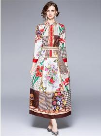 Wholesale Europe Shirt Collar Color Block Flowers Long Dress