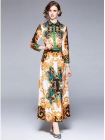Retro Europe High Waist Flowers Long Sleeve Maxi Dress