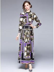 Wholesale Europe High Waist Flowers Shirt Maxi Dress