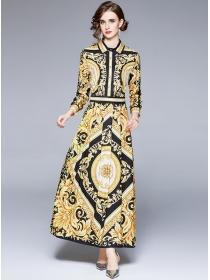 Retro Europe High Waist Pleated Shirt Collar Maxi Dress