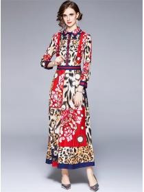 Brand Fashion High Waist Leopard Flowers Maxi Dress