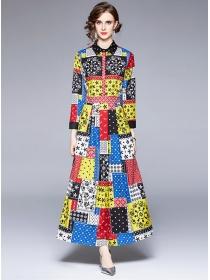 Wholesale Europe Shirt Collar Plaids Flowers Maxi Dress