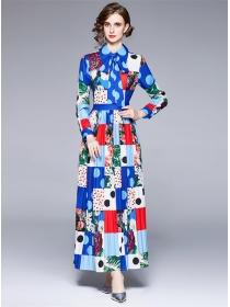 Pretty Women Fashion Plaids Flowers Pleated Maxi Dress