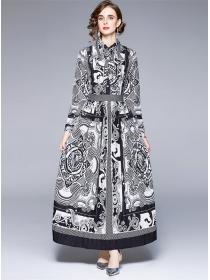Fashion Europe High Waist Flowers Pleated Maxi Dress