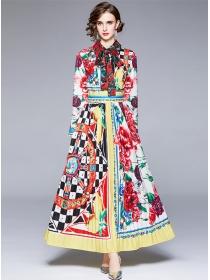 Pretty Women Fashion Shirt Collar Flowers Pleated Maxi Dress