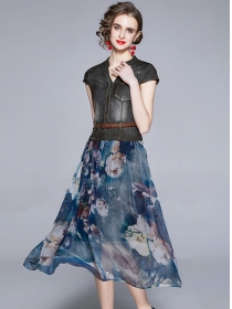 Retro Fashion V-neck Denim Splicing Flowers Long Dress