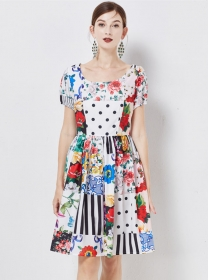 Pretty Europe Round Neck Flowers Puff Sleeve A-line Dress