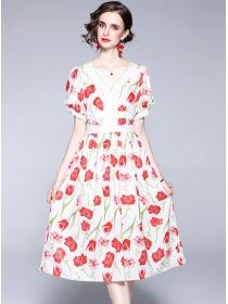 Grace Women High Waist V-neck Flowers Puff Sleeve Dress