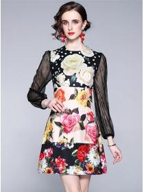 Autumn Wholesale Lace Sleeve Flowers A-line Dress