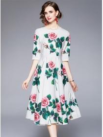 Europe Wholesale 2 Colors Flowers Flouncing A-line Dress