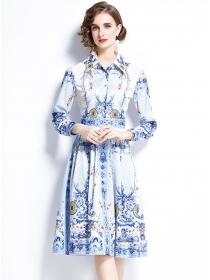 Europe Stylish Shirt Collar Flowers Long Sleeve A-line Dress