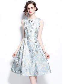 Modern Lady Jacquard Flowers Tank A-line Dress