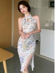 Pretty Korea Lace Split Flowers Off Shoulder Bodycon Dress