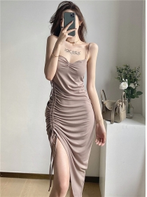 Wholesale Sexy Draw-string Pleated Backless Straps Dress
