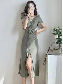 Modern Lady Draw-string Pleated V-neck Split Long Dress