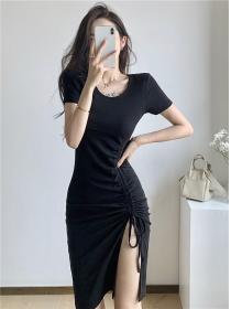 Fashion Summer Round Neck Split Draw-string Slim Dress