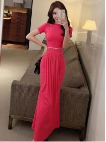 Korea Fashion 4 Colors Skinny T-shirt with Fishtail Long Skirt