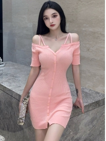 Pretty Wholesale Boat Neck Single-breasted Knitting Dress
