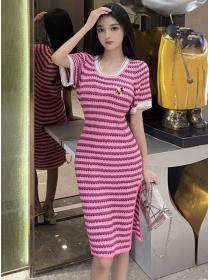 Wholesale Korea Round Neck Stripes Slim Knitting Dress