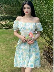 Pretty Wholesale 2 Colors Flowers Flouncing A-line Dress