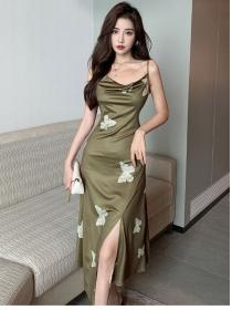 Wholesale Korea 2 Colors Butterfly Straps Split Long Dress