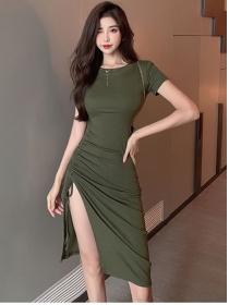 Fashion Korea 2 Colors Draw-string Pleated Split Cotton Dress