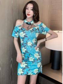Pretty Fashion 2 Colors Off Shoulder Flowers Slim Dress