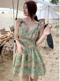 Lovely Sexy Tie Straps Flowers Fluffy A-line Dress