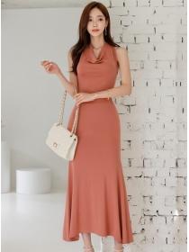 Wholesale Korea Tie Halter Backless Fishtail Knitting Long Dress